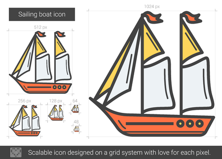 floating: Sailing boat vector line icon isolated on white background. Sailing boat line icon for infographic, website or app. Scalable icon designed on a grid system.