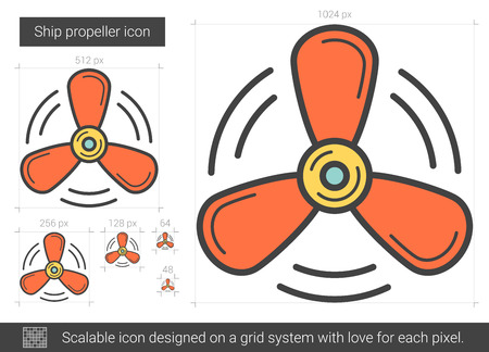 Ship propeller vector line icon isolated on white background. Ship propeller line icon for infographic, website or app. Scalable icon designed on a grid system. Illustration
