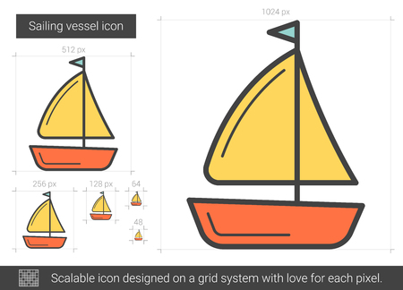 floating: Sailing vessel vector line icon isolated on white background. Sailing vessel line icon for infographic, website or app. Scalable icon designed on a grid system.