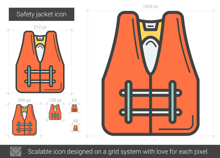 Safety jacket vector line icon isolated on white background. Safety jacket line icon for infographic, website or app. Scalable icon designed on a grid system. Illustration