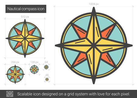 scalable: Nautical compass vector line icon isolated on white background. Nautical compass line icon for infographic, website or app. Scalable icon designed on a grid system. Illustration