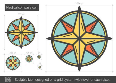 Seekompassvektorlinie Ikone getrennt auf weißem Hintergrund. Seekompass Liniensymbol für Infografik, Website oder App. Skalierbares Icon auf einem Rastersystem.