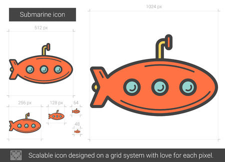 Submarine vector line icon isolated on white background. Submarine line icon for infographic, website or app. Scalable icon designed on a grid system.