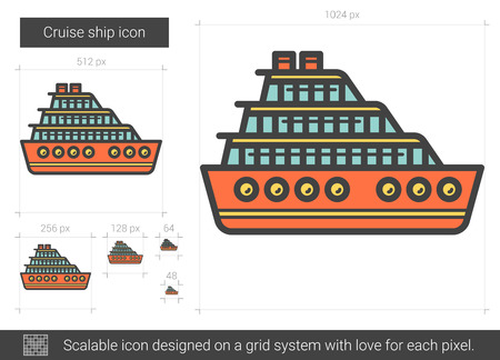 Cruise ship vector line icon isolated on white background. Cruise ship line icon for infographic, website or app. Scalable icon designed on a grid system. Illustration