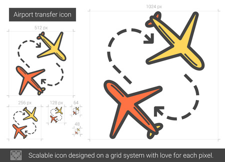 jetliner: Airport transfer vector line icon isolated on white background. Airport transfer line icon for infographic, website or app. Scalable icon designed on a grid system.