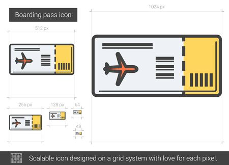 Boarding pass vector line icon isolated on white background. Boarding pass line icon for infographic, website or app. Scalable icon designed on a grid system.