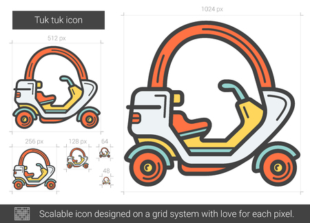 rickshaw: Tuk tuk vector line icon isolated on white background. Tuk tuk line icon for infographic, website or app. Scalable icon designed on a grid system.