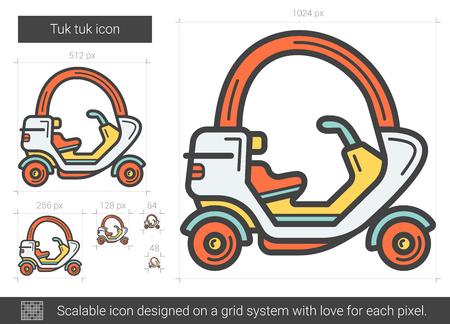 rikscha: Tuk Tuk Vektor Zeile Symbol isoliert auf weißem Hintergrund. Tuk Tuk Line Icon für Infografik, Website oder App. Skalierbares Icon auf einem Rastersystem. Illustration