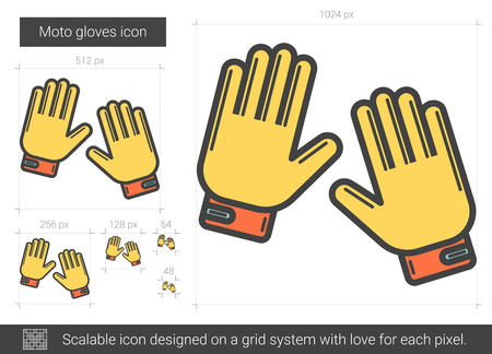 scalable: Moto gloves vector line icon isolated on white background. Moto gloves line icon for infographic, website or app. Scalable icon designed on a grid system.
