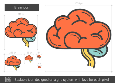 Brain line icon. Stock Illustratie