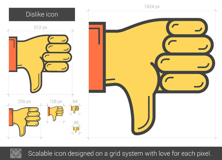 disapprove: Dislike line icon. Illustration