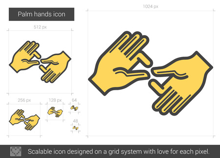 spells: Palm hands line icon. Illustration