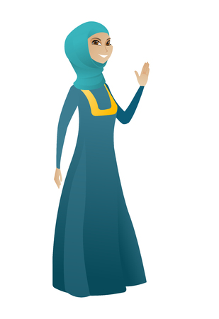 businessperson: Muslim business woman waving her hand. Full length of business woman waving her hand. Business woman making greeting gesture - waving hand. Vector cartoon illustration isolated on white background Illustration