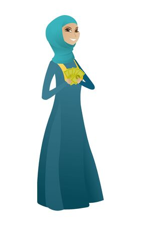 businessperson: Muslim business woman holding money. Excited business woman standing with money in hands. Full length of business woman with money. Vector cartoon illustration isolated on white background.