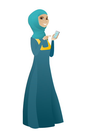 Business woman holding mobile phone and pointing at it. Full length of business woman with mobile phone. Business woman using mobile phone. Vector cartoon illustration isolated on white background