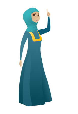 came: Muslim business woman with open mouth pointing finger up. Full length of young business woman with open mouth came up with business idea. Vector cartoon illustration isolated on white background