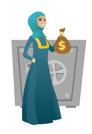 Muslim business woman showing money bag on the background of safe. Young business woman with money bag. Business woman holding money bag. Vector cartoon illustration isolated on white background.