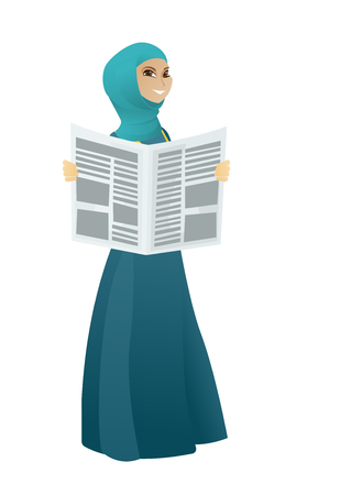 Young muslim happy business woman standing with newspaper in hands. Cheerful smiling business woman reading good news in a newspaper. Vector cartoon illustration isolated on white background.