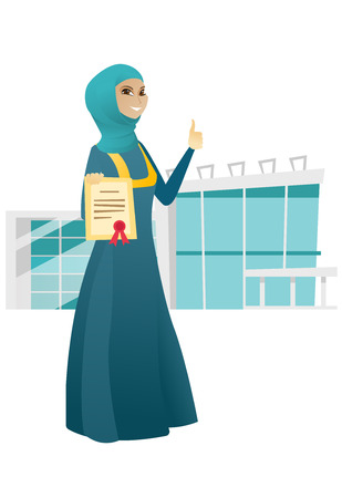 businessperson: Young muslim business woman showing a certificate. Full length of successful happy business woman holding certificate and giving thumb up. Vector cartoon illustration isolated on white background.