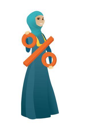 Muslim business woman holding percent sign. Full length of business woman holding percent sign. Cheerful business woman with percent sign. Vector cartoon illustration isolated on white background. Illustration