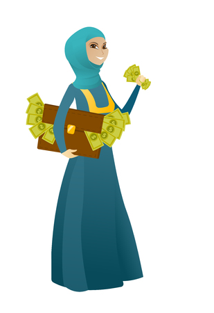 Business woman standing with briefcase full of money and committing economic crime. Business woman stealing money. Economic crime concept. Vector cartoon illustration isolated on white background. Illustration