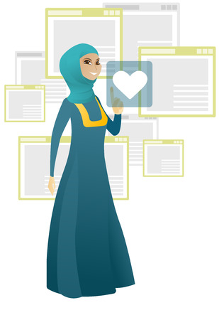 Young muslim business woman pressing web button with heart. Full length of smiling business woman pressing social media icon with heart. Vector cartoon illustration isolated on white background.