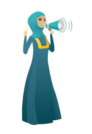 Muslim business woman with loudspeaker making an announcement. Full length of business woman making an announcement through a loudspeaker. Vector cartoon illustration isolated on white background.