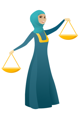 Muslim business woman holding balance scale. Young business woman with balance scale in hands trying to make a right decision in business. Vector cartoon illustration isolated on white background.