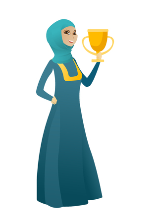 businessperson: Muslim business woman holding golden trophy. Full length of young business woman with trophy. Happy business woman celebrating with trophy. Vector cartoon illustration isolated on white background