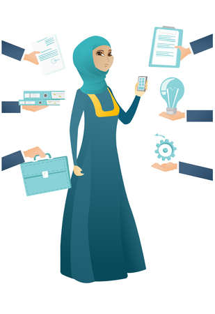 Muslim hard working business woman. Hard working business woman surrounded by many hands that give her a lot of work. Hard working concept. Vector cartoon illustration isolated on white background Illustration
