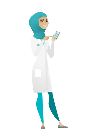 Muslim doctor in medical gown holding mobile phone and pointing at it. Full length of doctor with mobile phone. Doctor using mobile phone. Vector cartoon illustration isolated on white background.