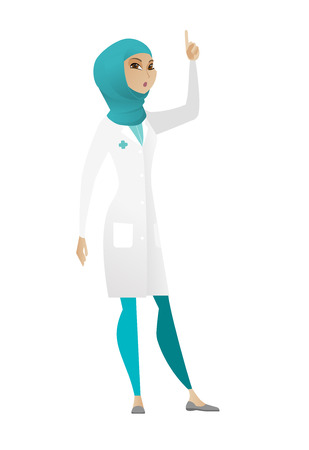 came: Surprised muslim doctor in medical gown with open mouth pointing finger up. Full length of young doctor with open mouth came up with idea. Vector cartoon illustration isolated on white background