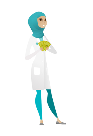 practitioner: Happy muslim doctor in medical gown holding money. Excited female doctor standing with money in hands. Full length of doctor with money. Vector cartoon illustration isolated on white background.