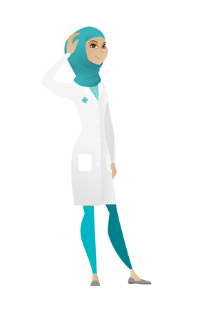 Muslim doctor in medical gown scratching head. Full length of thoughtful doctor scratching head. Puzzled female doctor scratching head. Vector cartoon illustration isolated on white background.