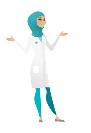 Young confused doctor in medical gown with spread arms. Muslim confused doctor with spread arms. Confused doctor shrugging shoulders. Vector cartoon illustration isolated on white background. Ilustração