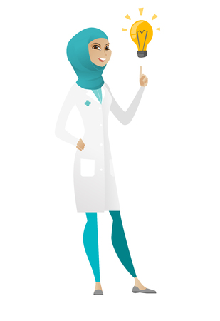 came: Muslim doctor pointing at bright idea light bulb. Full length of female doctor having a creative idea. Doctor came up with a great idea. Vector cartoon illustration isolated on white background.