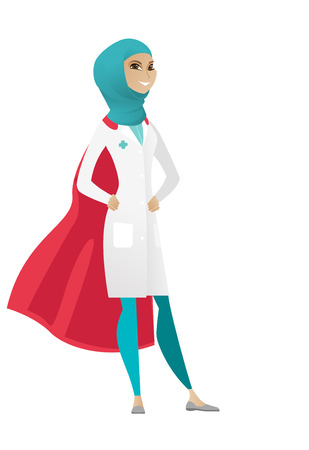 Young muslim doctor wearing a red superhero cloak. Full length of doctor dressed as superhero. Successful doctor superhero in red cloak. Vector cartoon illustration isolated on white background. Ilustrace