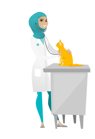 Muslim veterinarian examining cat in hospital. Veterinarian checking heartbeat of a cat with stethoscope. Medicine and pet care concept. Vector cartoon illustration isolated on white background. Illustration
