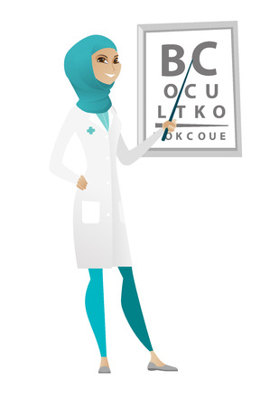 Muslim ophthalmologist doctor standing on the background of eye chart. Ophthalmologist examining vision of a patient with an eye chart. Vector cartoon illustration isolated on white background.