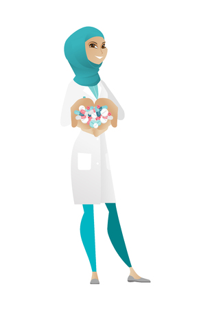 Muslim pharmacist holding lots of pills in hands. Young pharmacist in medical gown with handful of pills. Cheerful pharmacist giving pills. Vector cartoon illustration isolated on white background