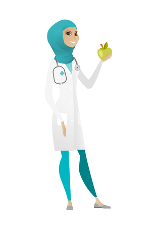 dietology: Muslim nutritionist prescribing diet and healthy eating. Smiling nutritionist holding an apple. Nutritionist offering an apple. Vector cartoon illustration isolated on white background. Illustration