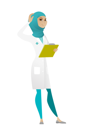 Confused muslim doctor in medical gown scratching head. Thoughtful doctor scratching her head. Puzzled doctor scratching head. Vector cartoon illustration isolated on white background.