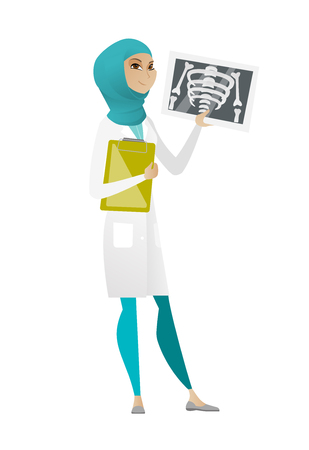 Muslim doctor examining a radiograph. Young doctor in medical gown looking at a chest radiograph. Doctor observing a skeleton radiograph. Vector cartoon illustration isolated on white background.