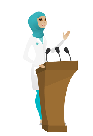 Muslim doctor speaking to audience from tribune. Doctor giving speech from tribune. Doctor standing behind the tribune with microphones. Vector cartoon illustration isolated on white background.