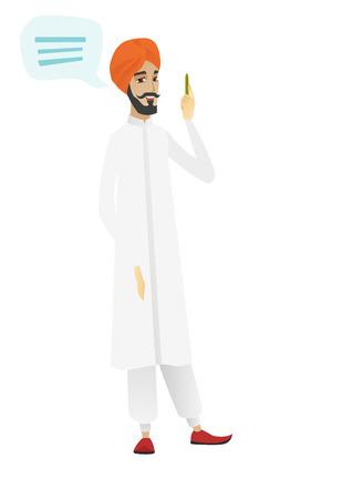 Empresario hindú con bocadillo de diálogo. Hombre de negocios dando un discurso Hombre de negocios con la burbuja del discurso que sale de su cabeza. Ejemplo plano del diseño del vector aislado en el fondo blanco.
