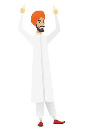 Successful hindu businessman standing with raised arms up. Businessman celebrating business success. Business success concept. Vector flat design illustration isolated on white background. Vectores