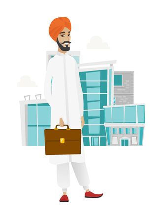 businessperson: Hindu businessman holding briefcase. Full length of young businessman with briefcase. Smiling businessman holding briefcase. Vector flat design illustration isolated on white background. Illustration
