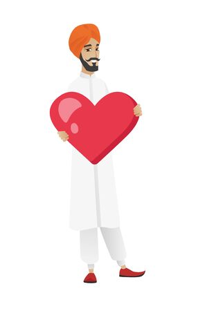 businessperson: Hindu businessman showing a big heart. Full length of young businessman with heart shape. Happy businessman holding a red heart. Vector flat design illustration isolated on white background.