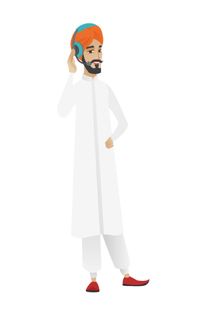 businessperson: Hindu customer service operator in headset with microphone. Full length of young customer service operator in headset with microphone. Vector flat design illustration isolated on white background.