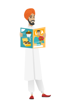 Successful hindu businessman reading magazine. Young businessman holding a magazine. Full length of businessman with a magazine. Vector flat design illustration isolated on white background.